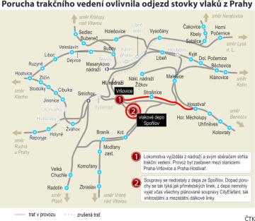 Porucha trakčního vedení ovlivnila odjezd stovky vlaků z Prahy. Ilustrační mapka oblasti