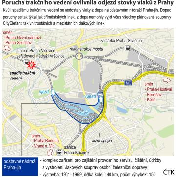 Porucha trakčního vedení ovlivnila odjezd stovky vlaků z Prahy. Detailní ilustrační mapka oblasti sezákladními údaji.