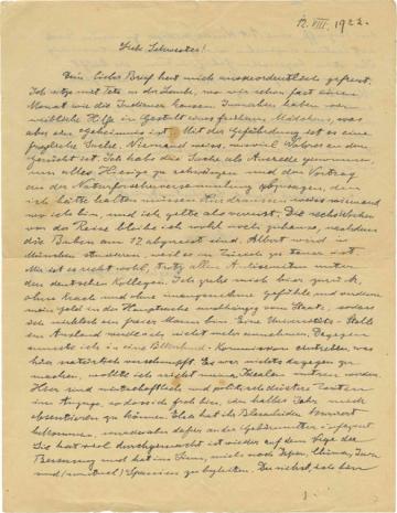 Dopis Alberta Einsteina z roku 1922, ve kterém své sestře Maje sděluje obavy o budoucnost Německa.