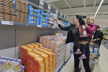 Ve více než 660 prodejnách po celé České republice se konala Národní potravinová sbírka. Na snímku z 10. listopadu 2018 je prodejna Lidl v Praze 4.