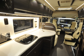 The interior of one of the most expensive caravans for 500,000 euros (on the picture of November 10, 2018), which can be seen in Caravan Bruna caravan and wagon Brno. The fair ends on November 11th.