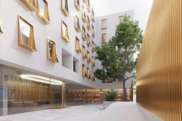 Nový projekt domu původně přezdívaného maršmeloun (na vizualizaci) vytvořil autor původního návrhu, architekt Zdeněk Fránek.