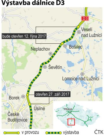 Výstavba dálnice D3 - ilustrační mapka se základními údaji