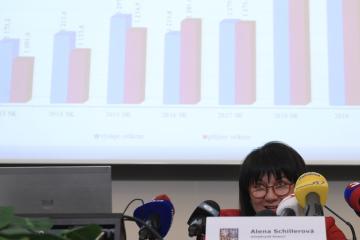 Ministryně financí Alena Schillerová vystoupila 3. ledna 2019 v Praze na tiskové konferenci k výsledkům státního rozpočtu za rok 2018.