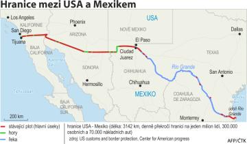Hranice mezi USA a Mexikem - ilustrační mapka oblasti se základními údaji.