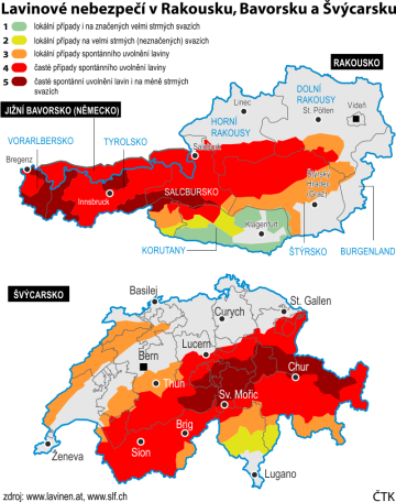 Lavinové nebezpečí v Rakousku, Bavorsku a Švýcarsku - ilustrační mapky se základními údaji.