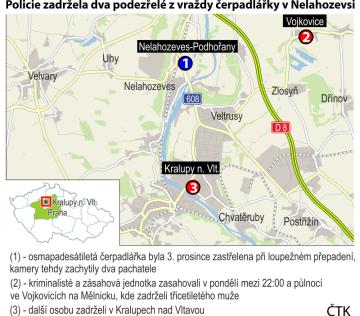 Vražda čerpadlářky v Nelahozevsi - ilustrační mapka se základními údaji.