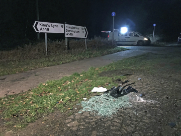 Místo poblíž automobilové nehody nedaleko britského prince Philipa nedaleko obce Sandringham.