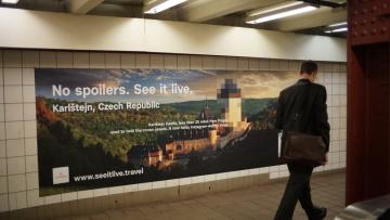 Reklamní prezentace České republiky v newyorském metru (na snímku ze 4. prosince 2018).