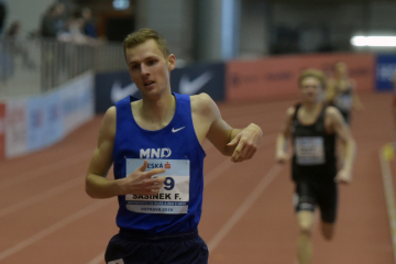 Halové MČR v atletice, 17. února 2019 v Ostravě. Filip Sasínek vyhrál závod mužů na 1500 metrů.