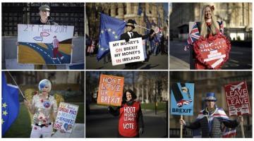 Lidé protestující před budovou parlamentu v Londýně na kombinované fotografii - nahoře příznivci brexitu, dole zastánci setrvání Británie v EU.