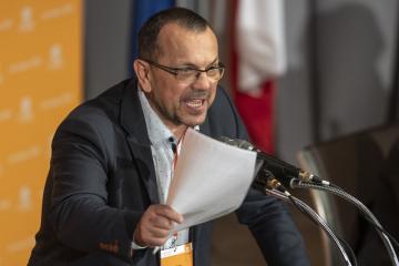 Jaroslav Foldyna vystoupil 1. března 2019 v kulturním domě Střelnice v Hradci Králové na volebním sjezdu ČSSD.