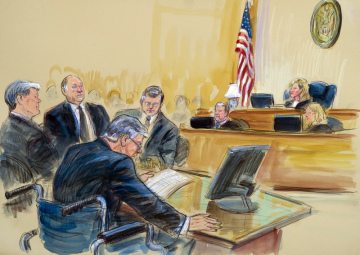 Bývalý šéf volebního týmu amerického prezidenta Donalda Trumpa Paul Manafort (vpředu na vozíku) na kresbě ze soudní místnosti ve Washingtonu.