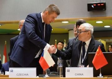 Český ministr zahraničí Tomáš Petříček (vlevo) a čínský zmocněnec pro Sýrii Sie Siao-jen se zdraví na mezinárodní konferenci o situaci v Sýrii 14. března 2019 v Bruselu.