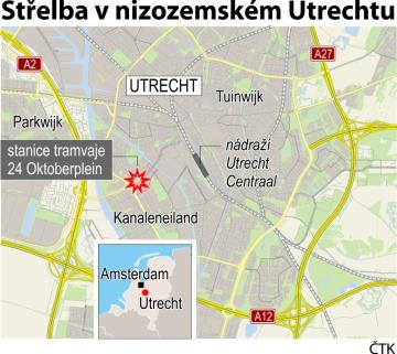 Střelba v nizozemském Utrechtu - ilustrační mapka oblasti.