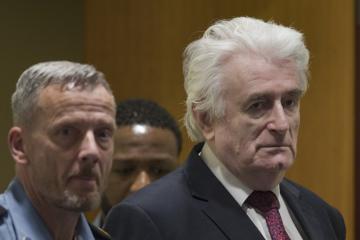 Bývalý vůdce bosenských Srbů Radovan Karadžić během odvolacího řízení u soudu OSN v Haagu.