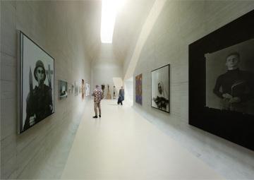 Vizualizace plánované stavby Středoevropského fóra (SEFO) v centru Olomouce. Kulturní centrum od architekta Jana Šépky by mělo vzniknout v proluce vedle Muzea moderního umění.