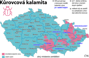 Ilustrační mapka s vyznačením oblastí ČR zasažené kůrovcovou kalamitou.