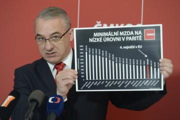 Předseda Českomoravské konfederace odborových svazů Josef Středula vystoupil 8. dubna 2019 v Praze na tiskové konferenci k návrhu na minimální mzdu v roce 2020.