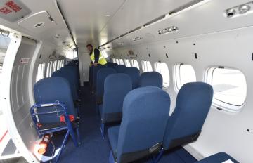 Kabina pro pasažéry letounu L410 NG, který společnost Aircraft Industries představila 15. dubna 2019 v Kunovicích na Uherskohradišťsku.