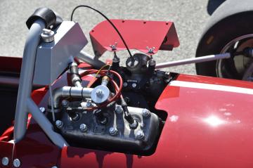 Na brněnském výstavišti byly 21. dubna 2019 poprvé na jednom místě všechny tři formule, které za svůj život postavil brněnský konstruktér a závodník Otto Buchberger. Na snímku je detail motoru jedné z nich.