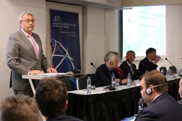 Pražská konference u příležitosti 10. výročí vzniku Východního partnerství, na snímku hovoří prezident Hospodářské komory Vladimír Dlouhý.