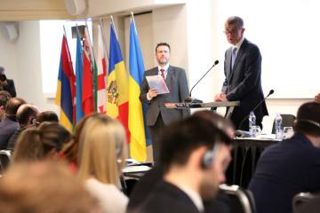 Pražská konference u příležitosti 10. výročí vzniku Východního partnerství, u řečnického pultíku premiér Andrej Babiš.