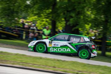 Rallye Český Krumlov, třetí závod seriálu mistrovství České republiky v automobilových soutěžích, první rychlostní zkouška 17. května 2019 v areálu výstaviště v Českých Budějovicích. Na snímku je Jan Kopecký navigovaný Pavlem Dreslerem ve vozu Škoda Fabia R5.