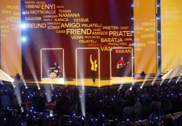 Česká kapela Lake Malawi ve finále soutěže Eurovize v Tel Avivu.