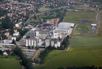 Letecký pohled na pivovar Radegast.