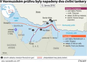 V Hormuzském průlivu byly napadeny dva civilní tankery - ilustrační mapka oblasti.