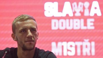 Záložník fotbalové Slavie Tomáš Souček na tiskové konferenci klubu před novou sezonou 17. června 2019 v Praze.