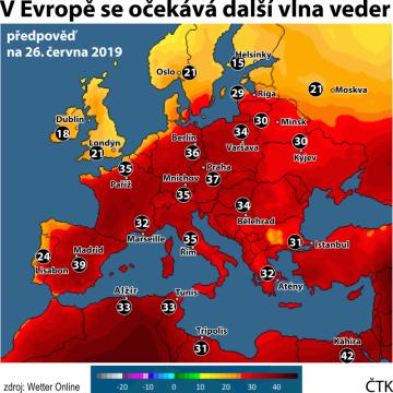 Předpověď počasí na 26. června 2019 v Evropě.