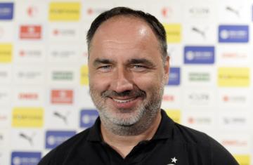 Trenér Slavie Jindřich Trpišovský se setkal 12. července 2019 v Praze s novináři před startem nové sezony první fotbalové ligy.