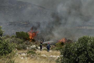Hasiči bojují s lesním požárem na řeckém ostrově Elafonisos.