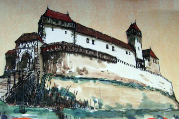 Reálná podoba Nového hradu u Kunratic navržená historikem a publicistou Jiřím Bartoňem.