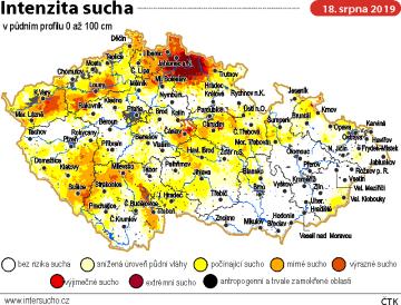 Mapka znázorňující intenzitu sucha v půdním profilu 0 až 100 cm - údaje k 18. srpnu 2019.