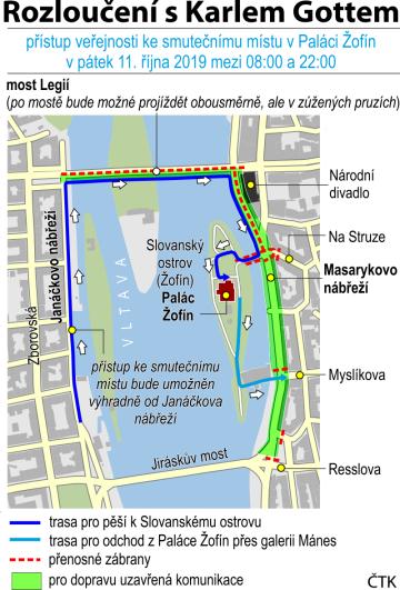 Přístup veřejnosti ke smutečnímu místu v Paláci Žofín a dopravní opatření okolo ostrova Žofín a okolí