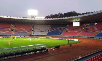 Kvalifikační utkání fotbalového MS 2022 mezi Severní a Jižní Koreou 15. října 2019 v Pchjongjangu.