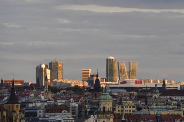 Výškové budovy v Praze na Pankráci - na snímku ze 14. srpna 2018.