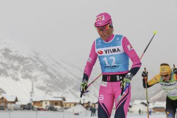 Prolog seriálu Ski Classics v dálkovém lyžování (35 km), 1. prosince 2019 v Livignu. Česká závodnice Kateřina Smutná.