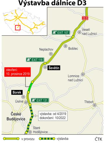 Výstavba dálnice D3 - ilustrační mapka.