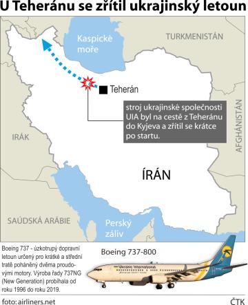 Pád ukrajinského letadla u Teheránu - ilustrační mapka oblasti.