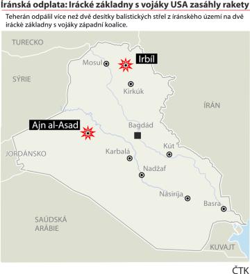 Ilustrační mapka Iráku s vyznačením íránského raketového útoku na irácké základny s vojáky západní koalice.