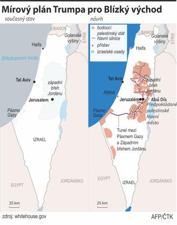 Trump představil mírový plán, počítá s palestinským státem
