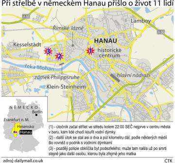 Při střelbě v německém Hanau přišlo o život 11 lidí. Ilustrační mapka oblasti.