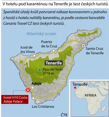 Španělské úřady kvůli potvrzené nákaze koronavirem u jednoho z hostů v hotelu nařídily karanténu, je podle cestovní kanceláře Canaria Travel CZ šest českých turistů. Ilustrační mapka oblasti.