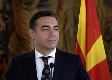 Ministr zahraničí Severní Makedonie Nikola Dimitrov (na snímku) a český ministr Tomáš Petříček vystoupili 26. února 2020 v Praze na tiskové konferenci po společném jednání.