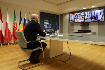 Předseda Evropské rady Charles Michel na videokonferenci lídrů EU ke koronavirové krizi 26. března 2020.