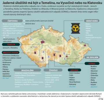 Jaderné úložiště má být u Temelína, na Vysočině nebo na Klatovsku. Grafický přehled možných úložišť jaderného odpadu na území ČR.